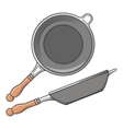 Frying pans side and top view vector image vector image