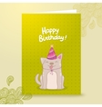 Happy Birthday postcard template with a dog vector image vector image
