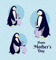 happy mothers day penguin cartoon vector image