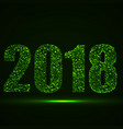 happy new year 2018 text with glowing particles vector image