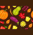 harvest seamless pattern with fruits and vector image