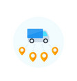 logistics delivery van icon flat style vector image