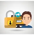 man pc password vector image