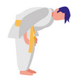 man practicing martial arts character vector image