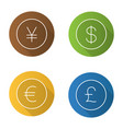 national currencies flat linear long shadow icons vector image