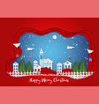 paper art carving of winter holiday snow in town vector image vector image