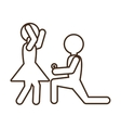 Pictogram marriage proposal happy bride