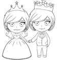 Prince and Princess Coloring Page 3 vector image vector image