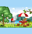 scene with bbq grill and food on picnic table vector image vector image