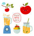 set funny kawaii apple with a blender smoothie vector image