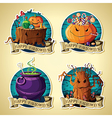 Set of Halloween vintage labels with pumpkins vector image vector image
