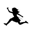 silhouette happy girl running sport vector image