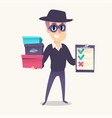 smiling man as mystery shopper in mask and spy hat vector image vector image
