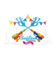 songkran water festival with guns garland poster vector image vector image