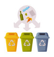 sorting waste for recycling segregation and vector image vector image