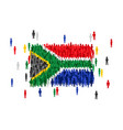 south africa state flag formed by crowd of vector image