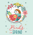 spring card with bird in floral frame vector image