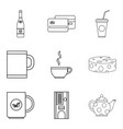 tea shop icon set outline style vector image vector image