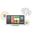 The UAE flag and kids inside the timeboard vector image vector image