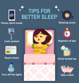 tips for better sleep flat infographics vector image vector image