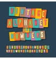 Vintage alphabet and numbers collage paper design vector image vector image
