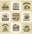 vintage organic farming labels set vector image