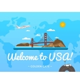 Welcome to USA poster with famous attraction vector image