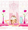 Woman washing hair in bubble bath vector image