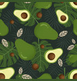avocado seamless pattern with tropical leaves vector image vector image