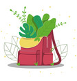 backpack with plants vector image vector image