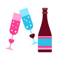 bottle with glasses vector image