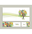 Business card collection abstract floral tree vector image vector image