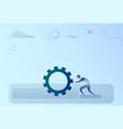 business man pushing cogwheel brainstorming vector image vector image