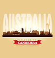canberra australia city skyline silhouette vector image vector image