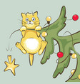 cat on christmas tree vector image vector image