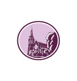 Christchurch Cathedral Woodcut Retro vector image vector image
