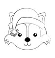 christmas fox face cartoon vector image vector image