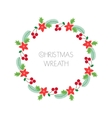 Christmas wreath with rowanberryfir branches vector image