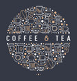 coffee and tea concept in circle vector image