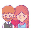 couple with beauty relation ships and heart vector image vector image