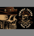 cowboy skull with crossed handguns vector image vector image