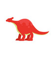 cute cartoon red dinosaur prehistoric and vector image vector image