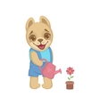 Cute Puppy Watering Flowers vector image vector image