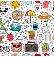 doodle cartoon seamless pattern background vector image vector image
