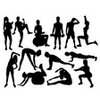 elegant women silhouettes doing fitness exercise vector image vector image