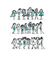fashion girls collection sketch for your design vector image vector image
