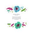 floral flat hand drawn poster template vector image