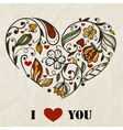 floral heart on crumpled paper texture vector image