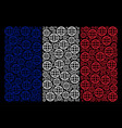french flag mosaic of globe items vector image