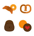 fresh baked bread products icons isolated vector image vector image